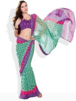 Seymore Striped, Floral Print Synthetic Sari