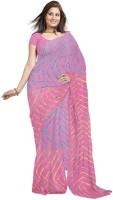Little India Printed, Striped Crepe Sari