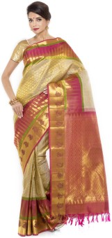 Sudarshan Silks Self Design Kanjivaram Handloom Jacquard Sari