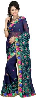 Bunny Sarees Floral Print Embroidered Chiffon Sari