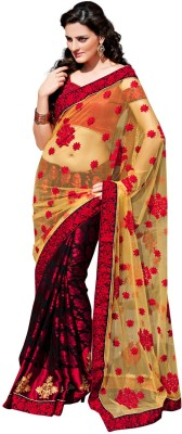 Fabdeal Printed Embroidered Embellished Net Sari available at Flipkart for Rs.4709