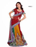Attire Printed Embroidered Embellished Georgette Sari