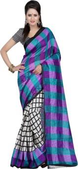 Kajal Sarees Striped Bollywood Poly Silk Sari