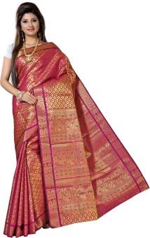 Alankrita Self Design Kanjivaram Art Silk, Silk, Jacquard Sari Pink