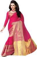 Divya Fashion Solid Embroidered Embellished Cotton Sari