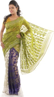 Creation Floral Print Jamdani Handloom Cotton, Silk Sari