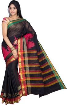 Pavechas Solid, Geometric Print Cotton Sari