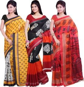 Ishin Solid Fashion Art Silk Sari (Pack Of 3)