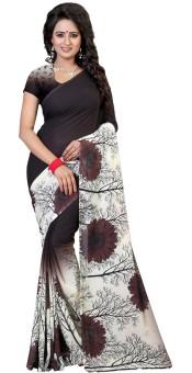 Kalika Floral Print Bollywood Georgette Sari Brown, Beige