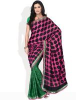 Vichitra Polka Print Embellished Synthetic Sari