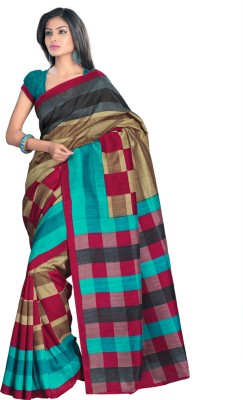 Triveni Checkered Daily Wear Art Silk Sari
