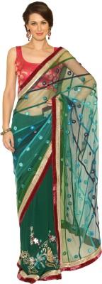 Fashion Senses Self Design Fashion Net, Georgette Sari (Multicolor)