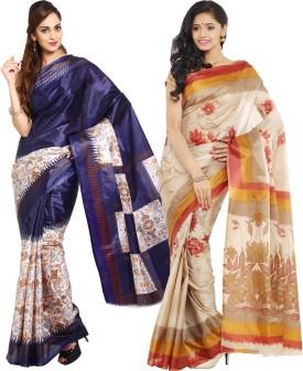 Parchayee Printed Fashion Art Silk Sari Pack Of 2