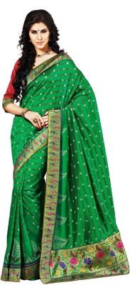 Aria Aria Printed Bollywood Silk Sari (Orange)