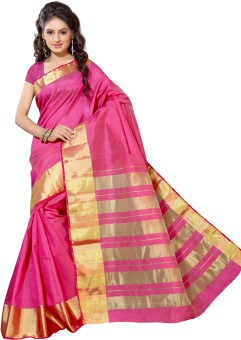 Alankrita Self Design, Woven, Plain Kanjivaram Tussar Silk, Silk, Art Silk Sari Pink