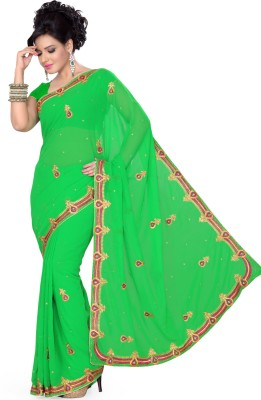 Saree Swarg Self Design Embroidered Embellished Georgette Sari