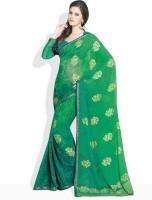 Vishal Striped, Floral Print Synthetic Sari