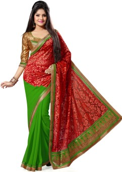 Deepika Saree Floral Print Embroidered Embellished Georgette, Brasso Sari