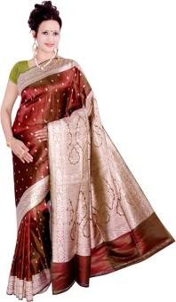 Adnan & Company Self Design Banarasi Handloom Satin, Silk Sari