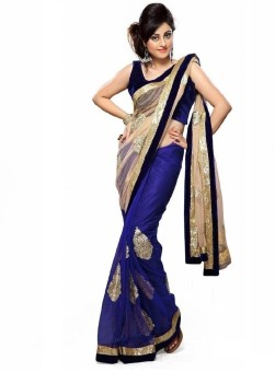 Click Sarees Embroidered Embroidered Embellished Georgette, Net Sari