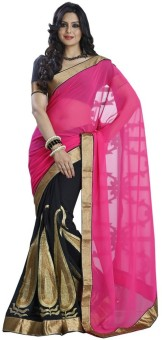 Your Fashions Self Design, Solid Embroidered Embellished Chiffon Sari
