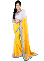 Bunny Sarees Solid Embroidered Chiffon Sari