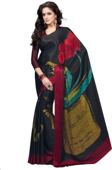 Manvaa Printed Fashion Machine Crepe, Jacquard Sari