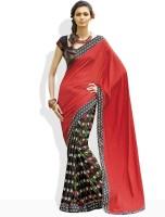 Vishal Floral Print, Geometric Print Silk Sari