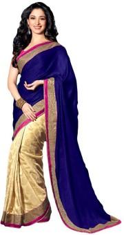 Sareeka Sarees Plain, Floral Print Bollywood Satin Sari