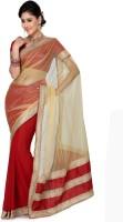 Saree Swarg Solid Embellished Chiffon, Net Sari