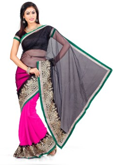 Indian Saree Self Design Bollywood Georgette, Net Sari