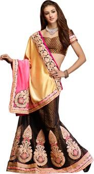 Manvaa Self Design Embroidered Embellished Chiffon, Jacquard, Net Sari