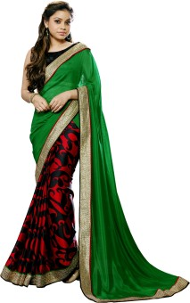 Saree Hub Solid Bollywood Satin Sari