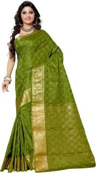 Alankrita Self Design, Woven Kanjivaram Silk, Art Silk, Jacquard, Brasso Sari Green