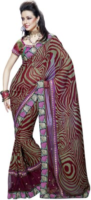 Fabdeal Printed Embroidered Embellished Net, Georgette Sari available at Flipkart for Rs.5489