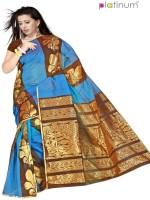 Platinum Floral Print Chanderi Sari