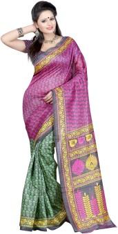 Anju Sarees Printed Bhagalpuri Machine Silk Sari