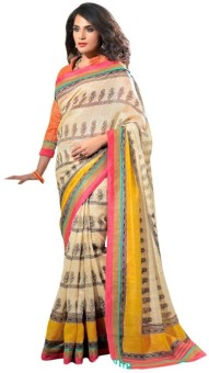 Nanda Silk Mills Printed Bollywood Cotton, Silk Sari