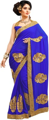Saree Hub Embriodered, Embellished Fashion Pure Georgette Sari