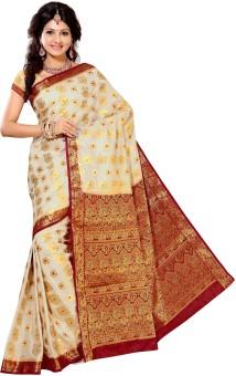 Alankrita Self Design, Woven, Solid Kanjivaram Art Silk, Silk, Jacquard Sari White, Beige, Maroon