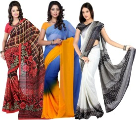 Fabdeal Floral Print, Solid, Printed Fashion Chiffon, Georgette Sari Pack Of 3