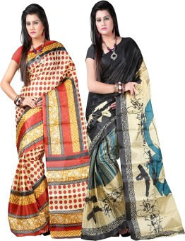 Kajal Sarees Self Design Bollywood Art Silk Sari Pack Of 2