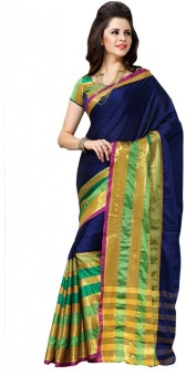 Shree Vaishnavi Self Design Bollywood Handloom Cotton, Silk Sari