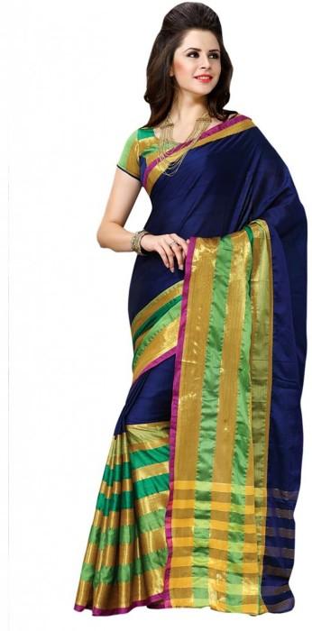 Shree Vaishnavi Self Design Bollywood Handloom Cotton, Silk Sari