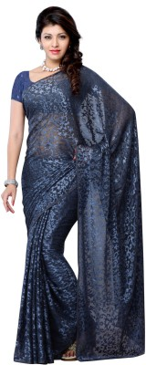 Zohraa Zohraa Printed Fashion Brasso Sari (Blue)