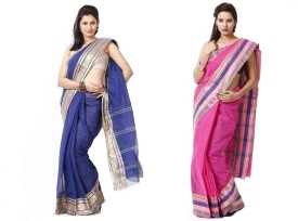 Purabi Saree Woven Tant Handloom Cotton Sari Pack Of 2