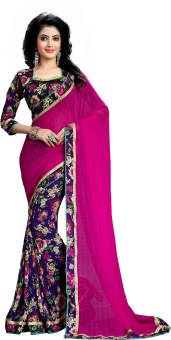 Oomph! Embriodered, Plain, Embellished, Printed, Floral Print, Geometric Print Fashion Chiffon Sari Pink