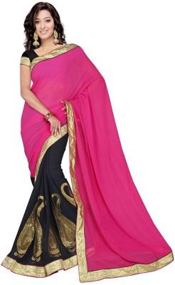 Fashion Fabulous Self Design, Solid Fashion Chiffon Sari (Multicolor)
