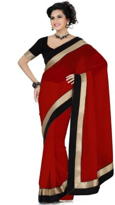 Aanaya Fashion Aanaya Fashion Solid Fashion Georgette Sari (Red)