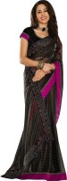 Cbazaar Solid Embroidered Embellished Georgette Sari